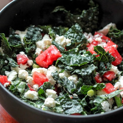 Kale Salad With Pickled Watermelon And Feta