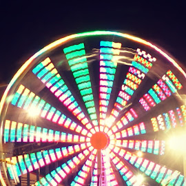 Wheel 2 by Amanda Hunter - City,  Street & Park  Amusement Parks ( lights, ferris, wheel, bright, night,  )