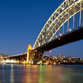 Sydney by Nigel Hawkins - City,  Street & Park  Skylines ( australia, night, bridge, landscape, light, sydney, nightscape,  )