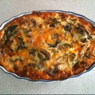 Spinach, Mushroom and Broccoli Easy Quiche