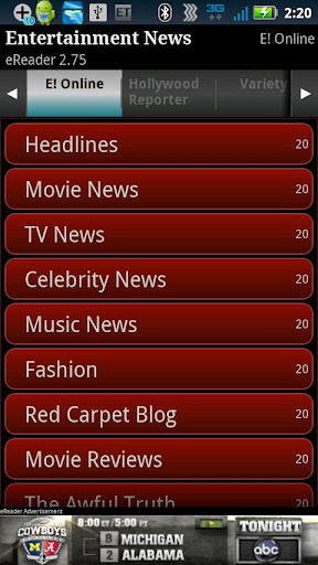 Entertainment News eReader