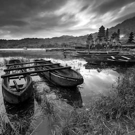 by Made Suwita - Black & White Landscapes ( bali, indonedia, black and white, lake, tamblingan )