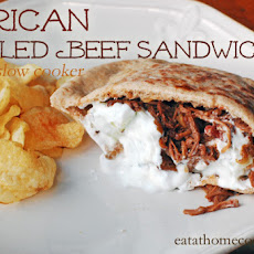 African Pulled Beef Sandwiches in the Slow Cooker with Yogurt-Mint Sauce