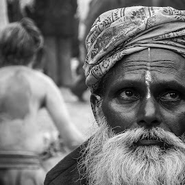 BACK AND FRONT by ASIT KUMAR GHATAK - People Portraits of Men ( monk,  )
