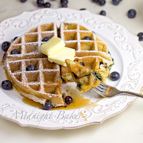 Sour Cream & Greek Yogurt Blueberry Waffles
