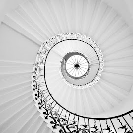 Queen's House Staircase, London. by Lexie Argghh - Buildings & Architecture Homes ( stairs, london, black and white, spiral, greenwich )