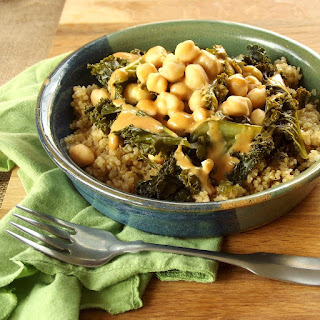Tahini-Sriracha Dressed Kale and Chickpeas over Quinoa