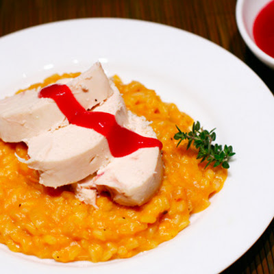 Cornish Game Hens with Sweet-Potato Risotto and Cranberry Sauce