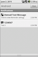 Screenshot of Missed Text Reminder