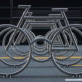 Oslo Bar Code Bikes by Anita Skollenborg Wikerøy - City,  Street & Park  Street Scenes