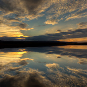 sunset  by Eugen Chirita - Landscapes Sunsets & Sunrises ( calm, reflection, iceland, blue, sunset, mirrored, silence, lake, yellow, landscape )
