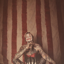 Vingage Carnival Clown by Leslie Spurlock - People Portraits of Men ( snake, carnival photography, circus photography, vintage, clown, carnival, tattoos, vintage photography, circus, clowns )