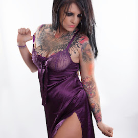Kaylyn Chest Art by Mark Davis - People Body Art/Tattoos ( model, purple, tattoos, sleeve, tattoo )