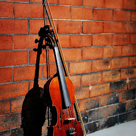 Violin by Amber Summerow - Artistic Objects Musical Instruments ( music, red, violin, brick, string, bow, wall, , object, musical, instrument )
