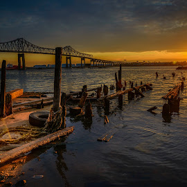 Sunset over the span by Lance Reha - Landscapes Sunsets & Sunrises
