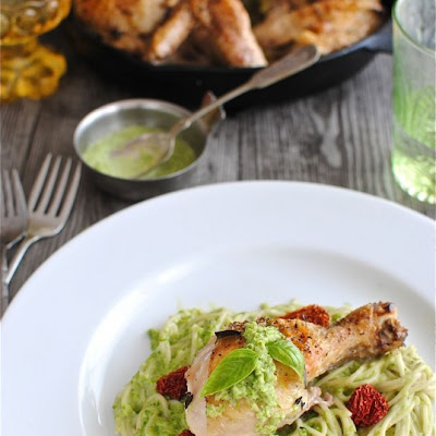 Roasted Chicken over Creamy Asparagus Pasta