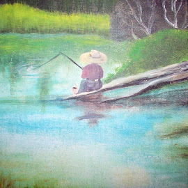 Boy Fishing in the Creek by Judith Beck - Painting All Painting ( water, pole, creek, fishing, log, boy, painting, hat )