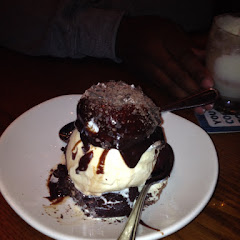 Amazing,warm Chocolate/Pecan Brownie with Vanilla Ice Cream, Hot Fudge and Chocolate Shavings!!!