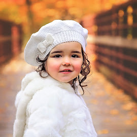 Fall and white by On the Lake Photography - Babies & Children Child Portraits ( child, fall colors, fall, white, bridge )