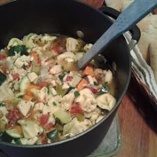 Chicken Tortellini Soup With Zucchini and Tomatoes