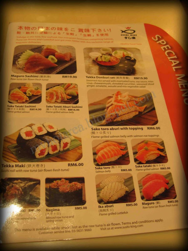 Special Seasoned Menu Sushi King Malaysia Food Restaurant Reviews