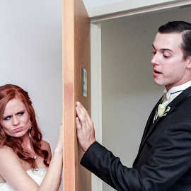 Sneeking a Peek.... by Mitch Lassiter - Wedding Getting Ready ( wedding, peek, bride, groom )