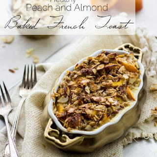 Healthy French Toast Bake with Peaches and Almond Streusel {Whole Wheat}