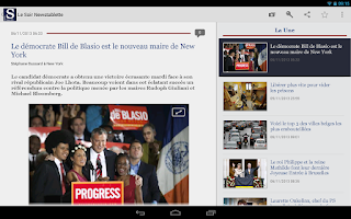 Screenshot of Le Soir Tablette