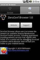 Screenshot of ZeroConf Browser