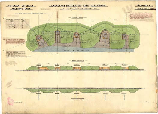 Plans for upgrading Fort Gellibrand battery in Williamstown, 1880