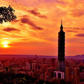 Sunset near Taipei 101 by Angela Chen - Buildings & Architecture Office Buildings & Hotels ( taiwan, sunset, beautiful, sunrise, taipei 101 )