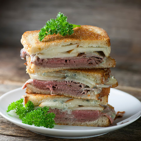 Grilled Roast Beef, Pear and Blue Cheese Sandwiches