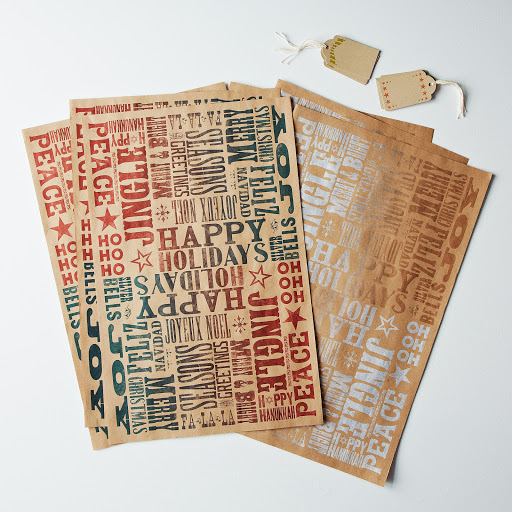 Letterpress Gift Wrap and Tags