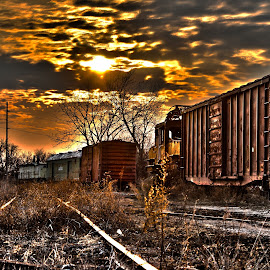 Final Resting Place of America by Nathanial Brown - Transportation Trains ( america, hdr, sunset, railroad )