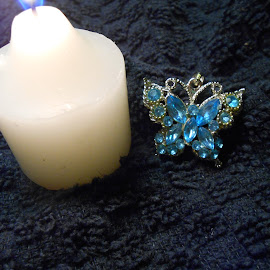 Butterfly Pendant and Candle by Darlene Pavek - Artistic Objects Jewelry ( candle, butterfly, pendant, object, artistic, jewelry )