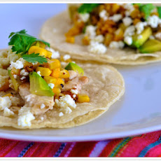 Grilled Chicken Tacos with Corn & Tomatillo Sauce