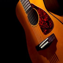 Shadows and Music by Robert Machado - Artistic Objects Musical Instruments ( wood, neck, object, yellow, space, modern, style, shadow, acoustic, light, closeup, classic, copy, music, musical, folk, beautiful, play, instrument, entertainment, shadows, wooden, classical, popular, string, guitar, brown )