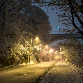 Bridges Over Falls by Aaron Krosner - City,  Street & Park  Street Scenes ( raw, directional, baltimore, landscape, falls road, pure, jones falls, leading lines, snow, maryland, long exposure, night, bridge, bridges )