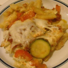 Grilled Chicken & Veggie Three Cheese Pasta Bake