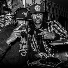 DJ'S by Brad Chapman - People Musicians & Entertainers ( music, black and white, club, dj, edgy, rock, black )
