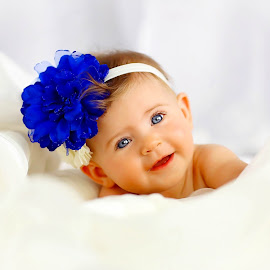Blue by Sharon Fuscellaro Canale - Babies & Children Babies ( girl, blue, blue eyes, baby, flower )