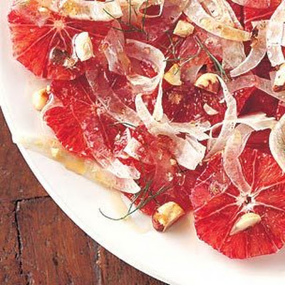 Blood Orange Salad with Shaved Fennel and Hazelnuts