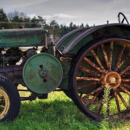John Deere green by Calvin Morgan - Transportation Other ( hdr, farm equiptment, john deere, rust, nikon d7000, tractor )
