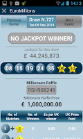 Screenshot of UK lottery