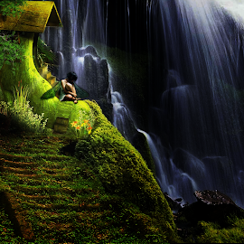 by Svetla Stoimenova - Digital Art Places ( magic, girl, dream, wonderland, waterfall, fairy )