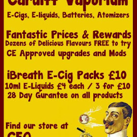 just passed 360 'likes' and still got the best prices in the city center thank you for all your support adding some new flavours and tech in the coming weeks make sure you  dont miss any updtaes by liking the page if you have not already   >>>>>>https://www.facebook.com/CardiffVaporium?ref=hl by Martyn Kerslake - News & Events Health