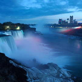 Niagara Falls at Night by Indra Suryatama - Landscapes Waterscapes ( canada, america, waterfall, niagara, nightscape )