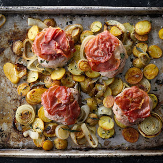 "Pork ""Saltimbocca"" with Roasted Onions and Potatoes"