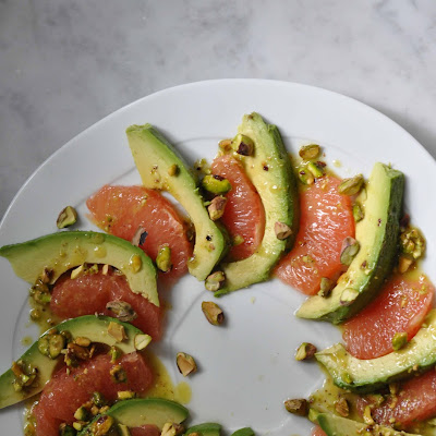 Avocado and Grapefruit Salad with Pistachio Vinaigrette