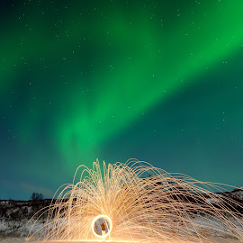 Spinning up the northern lights by Marius Birkeland - Abstract Light Painting ( steel wool, aurora borealis, aurora, steelwool, steel )